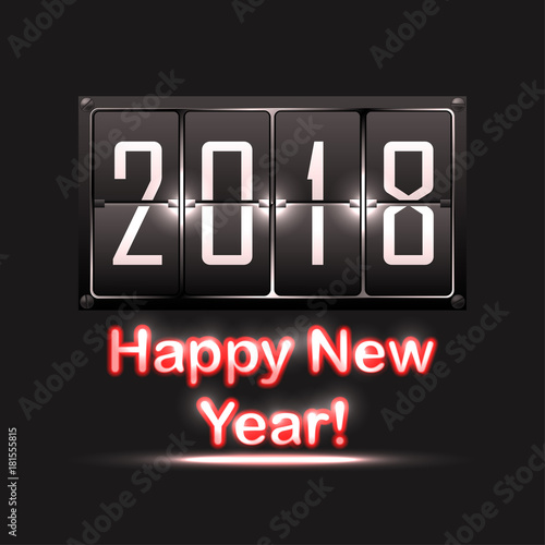 2018 happy new year flip clock or flip calendar and neon text on black bakground
