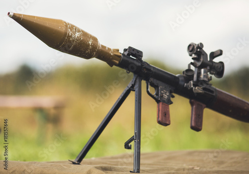 Antiarmor weapon bazooka on ground Canvas Print