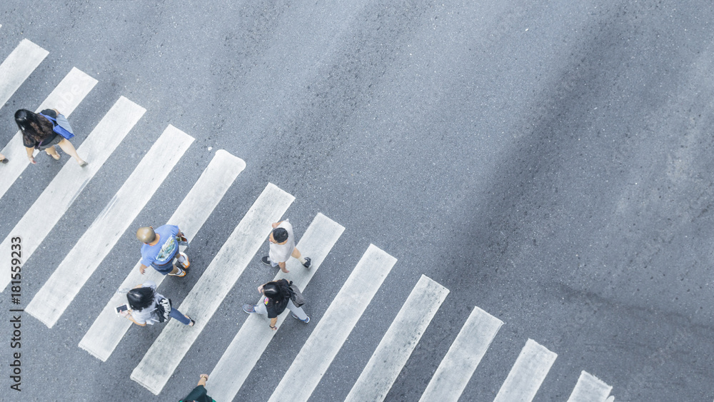 Fototapety, obrazy: the From the top crosswise view of people walk on street pedestrian crossroad in the city street ,bird eye view.