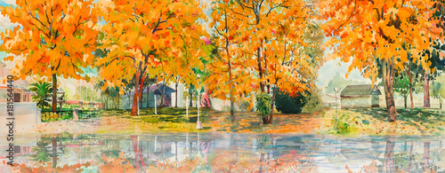 Tuinposter Olijf Autumn trees. Painting watercolor landscape.