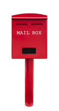 Red Mail Box On White Background