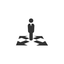 Business Way Icon. Business, Human Resource Sign. Looking For Talent. Search Man Vector Icon. Job Search Icon