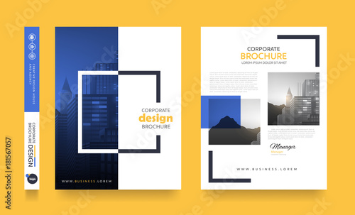 Fototapeta poster flyer pamphlet brochure cover design layout space for photo background, vector template in A4 size obraz