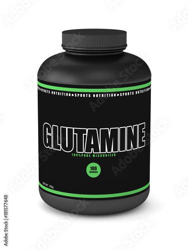 Photo 3d render of glutamine jar over white