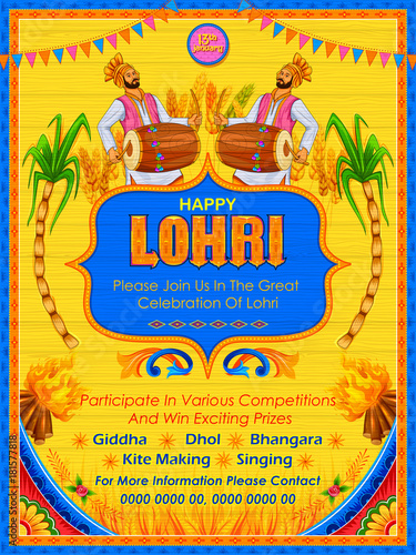 Fototapeta Happy Lohri holiday background for Punjabi festival