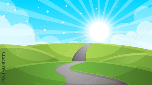 Cartoon landscape - road illustration. Vector eps 10