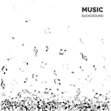 Vector Abstract Music Background. Music Background Text With Falling Notes.
