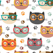 Seamless Pattern With Cute Fac...