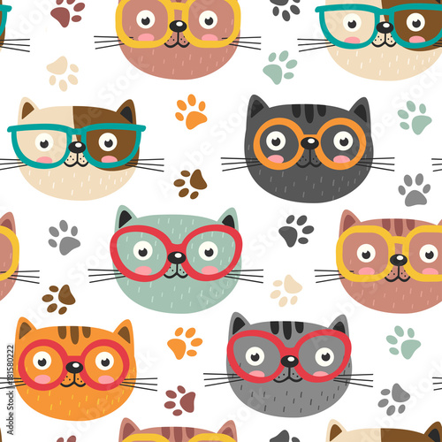 obraz dibond seamless pattern with cute faces cats - vector illustration, eps
