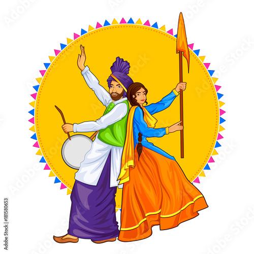 Fotografia, Obraz Sikh Punjabi Sardar couple playing dhol and dancing bhangra on holiday like Lohr