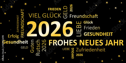 Poster  Glückwunschkarte Silvester 2026 - Guten Rutsch und ein frohes neues Jahr