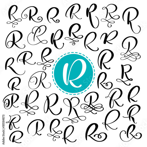 Set Letter R Hand Drawn Vector Flourish Calligraphy Script Font Isolated Letters Written