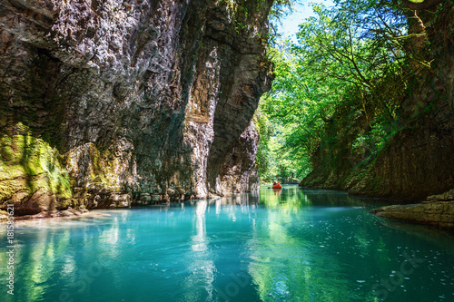 Tuinposter Reflectie Martvili canyon in Georgia. Beautiful natural canyon with view of the mountain river