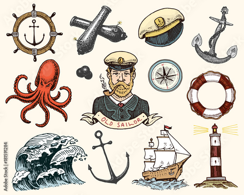 Fototapeta Marine and nautical or sea, ocean emblems. set of engraved vintage, hand drawn, old, labels or badges for a life ring, a cannon ball, a captain with a pipe. welcome aboard, two anchors, sailor. obraz
