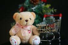 Cute Fluffy Teddy Bear, Coins ...