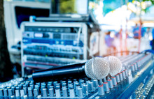 Microphone On The Sound Mixer....