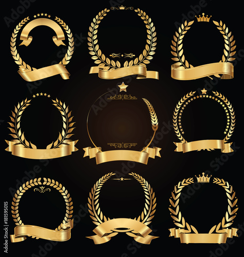 Photo  Golden laurel wreath with golden ribbon vector collection