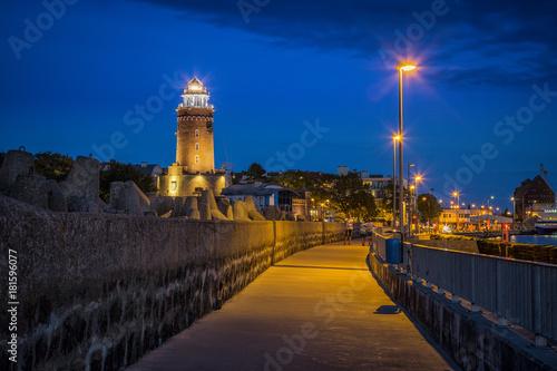 Poster de jardin Paris Lighthouse in Baltic coast during blue hour.