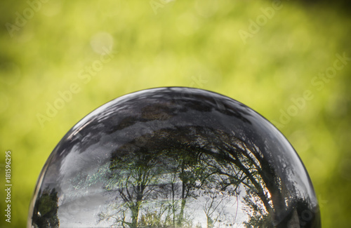 Fotobehang Fontaine close up view on beautiful landscape trees in blue sky and green meadow through lens ball sphere, france