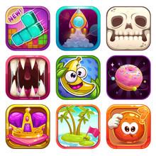 Funny Cartoon App Icons For Ga...