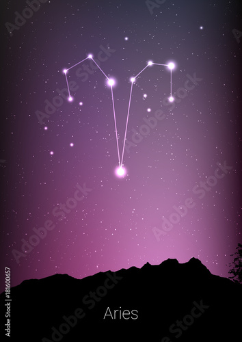 Aries zodiac constellations sign with forest landscape silhouette on beautiful starry sky with galaxy and space behind Wallpaper Mural