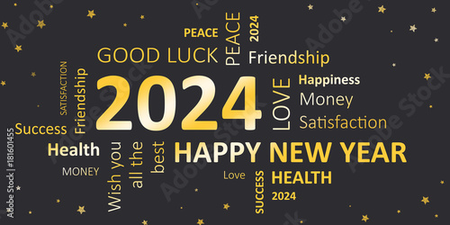 Fotografia  Happy new Year 2024 Glückwunschkarte für Silvester