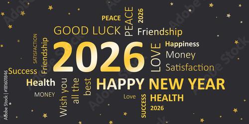 Poster  Happy new Year 2026 Glückwunschkarte für Silvester