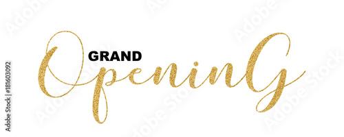 Fotografía  Grand Opening handwritten script, text isolated on white background, vector illustration