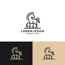 Horse Logo Vector Icon Line Ar...