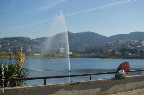 Lake at Great Park of Tirana with Fountain, Albania