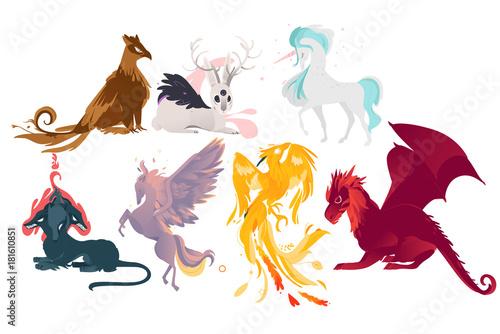 Fotografie, Obraz  Set of mythical, mythological creates, animals - unicorn, jackalope, phoenix, pegasus, cerberus, griffon, dragon, flat cartoon vector illustration isolated on white background