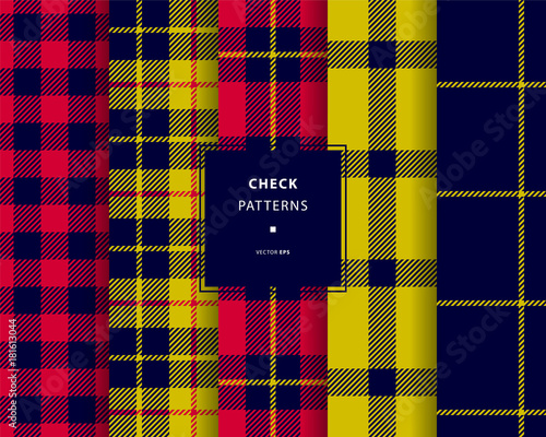 Check seamless patterns set Canvas Print