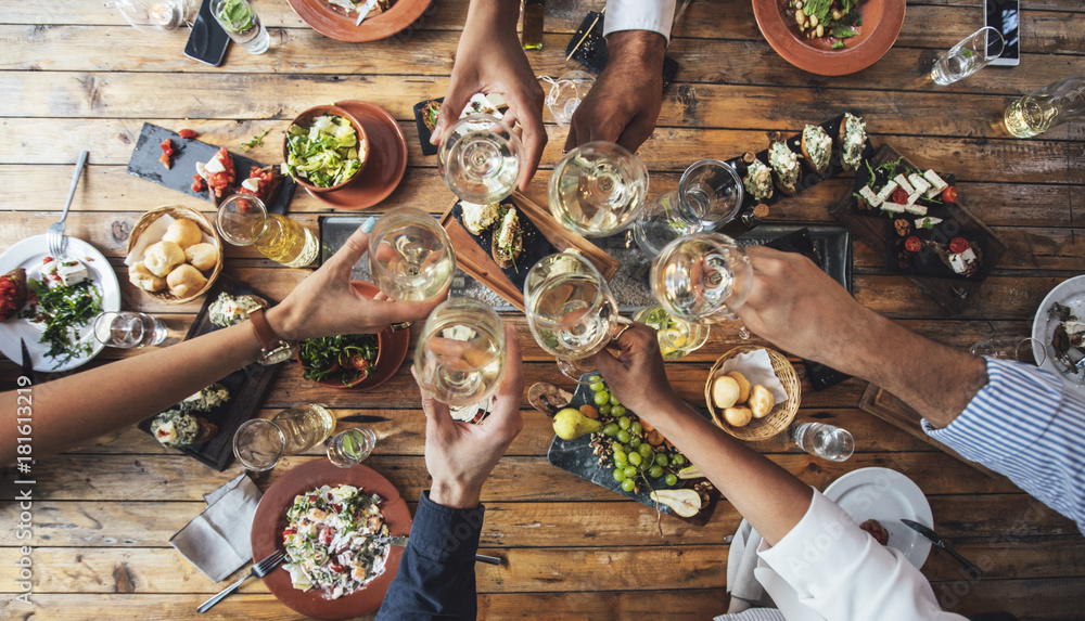 Fototapety, obrazy: Friends Toasting at Dinner Party