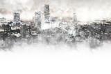 Abstrakcjonistyczny piękny budynek w kapitale na akwarela obrazu tle. Miasto na cyfrowej ilustracji pędzlem do sztuki .. - 181613862