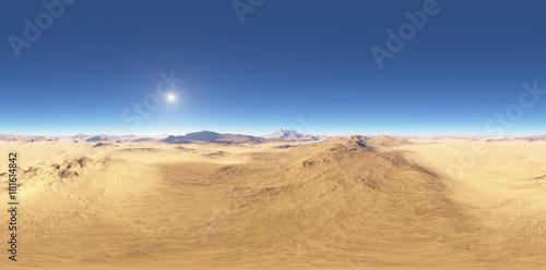 Foto  Panorama of desert landscape sunset, environment HDRI map