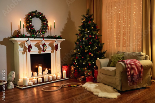 Christmas Room Interior Design Xmas Tree Decorated Dy Lights