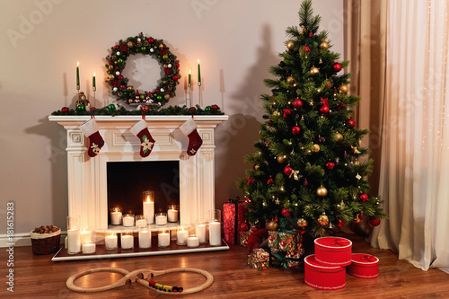 Living Room Home Interior With Decorated Fireplace And