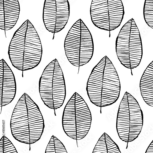 Vector seamless pattern with watercolor hand drawn leaves. Black and white outline background. Trendy scandinavian design concept for fashion textile print. Nature illustration.