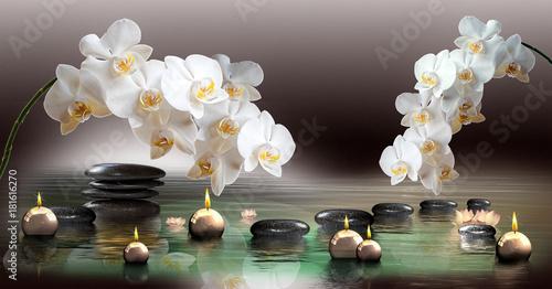 Wandbild Mit Orchideen Steinen Im Wasser Und Schwimmenden Kerzen