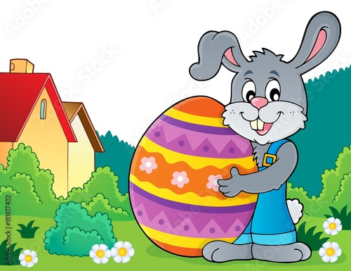Poster Creatures Bunny holding big Easter egg theme 4