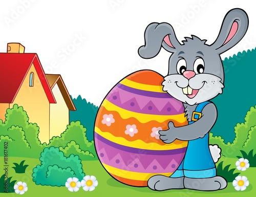 Bunny holding big Easter egg theme 4