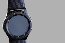 Smart Watch With An Empty Dial On A Gray Background