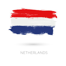 Netherlands Colorful Brush Strokes Painted National Country Flag Icon. Painted Texture.
