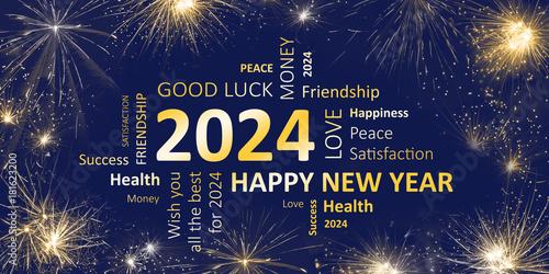 Fotografia  Happy new year 2024 greeting card