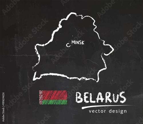 Obraz na płótnie Map of Belarus, Chalk sketch vector illustration