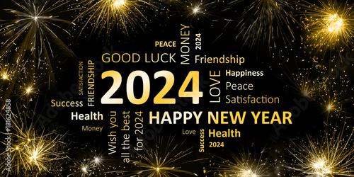 Poster  Happy new Year 2024 Glückwunschkarte für Silvester