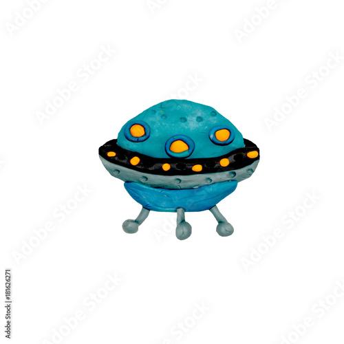 Foto op Canvas UFO plasticine 3D UFO spaceship sculpture