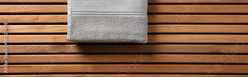 Keuken foto achterwand Spa Half grey towel for spa, hammam or sauna, long banner