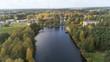 Ulbroka lake Aerial drone top view Latvia