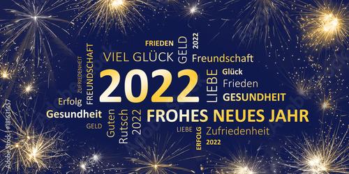 Fotografia  Neujahrsgruß 2022 blau gold mit guten wünschen
